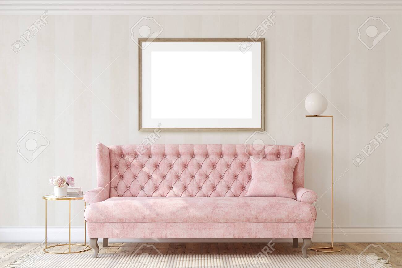 Romantic living room with the pink couch. Interior and frame mockup. 3d render. - 146138918