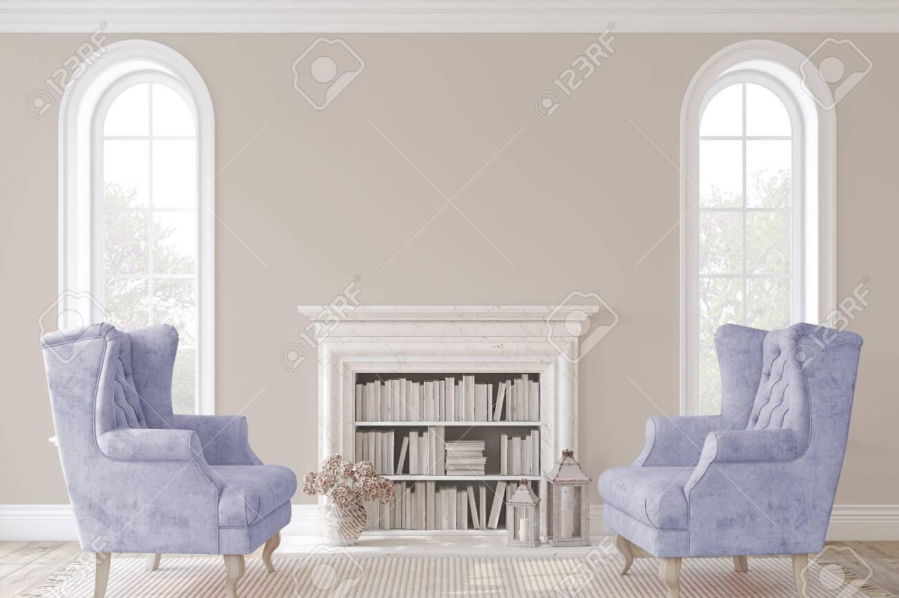 Romantic fireplace. 3d render. - 146138788
