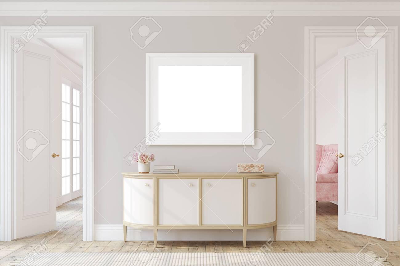 Modern hallway. Interior and frame mockup. 3d render. - 146819023