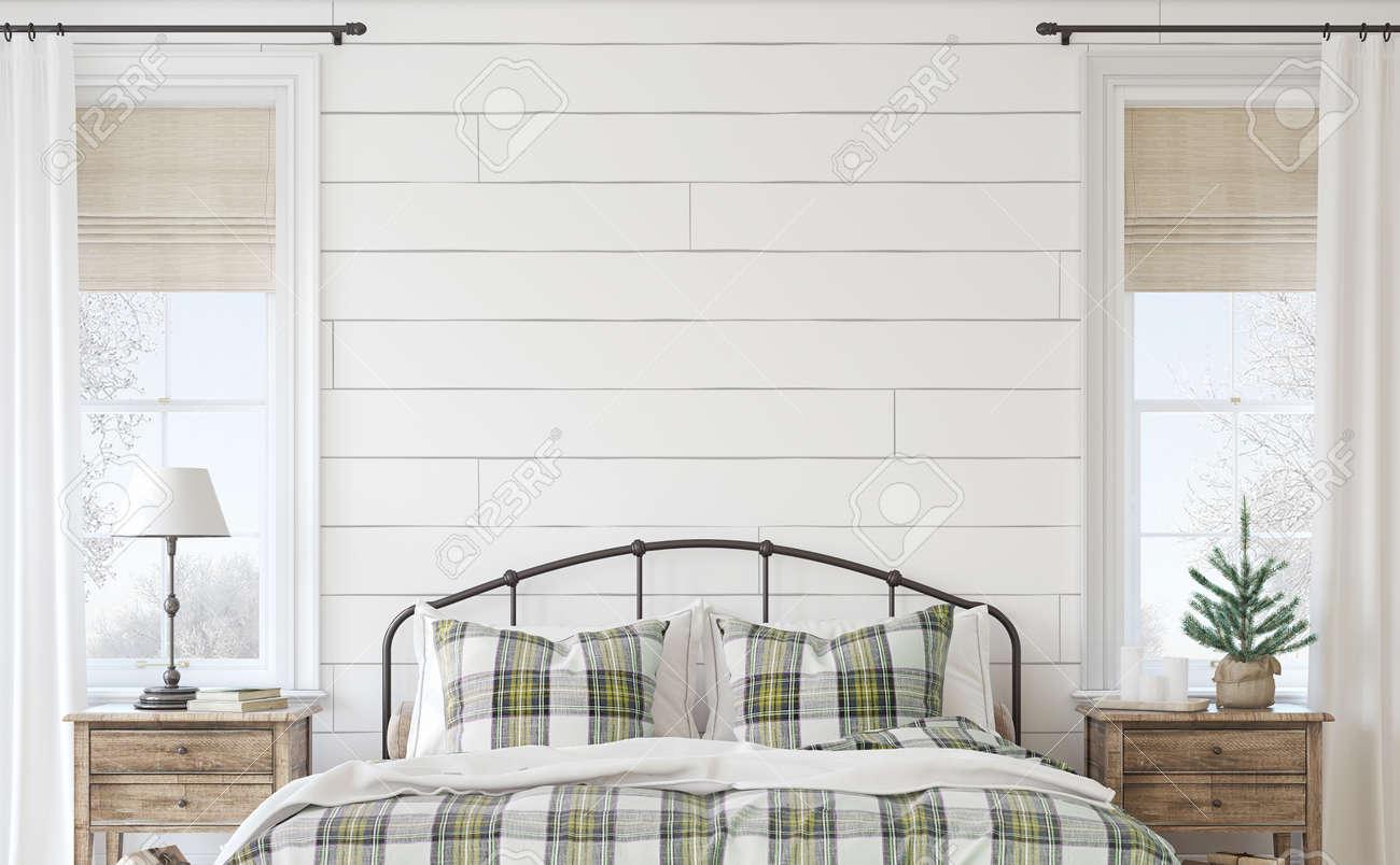 Christmas farmhouse bedroom. Interior mockup. 3d render. - 158569587