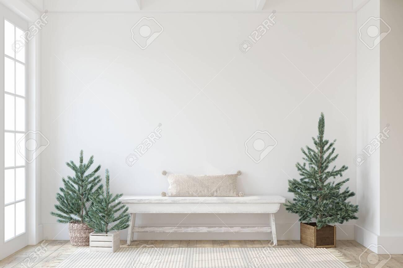 Christmas farmhouse entryway. Wooden bench near white wall. Interior mockup. 3d render. - 158569206