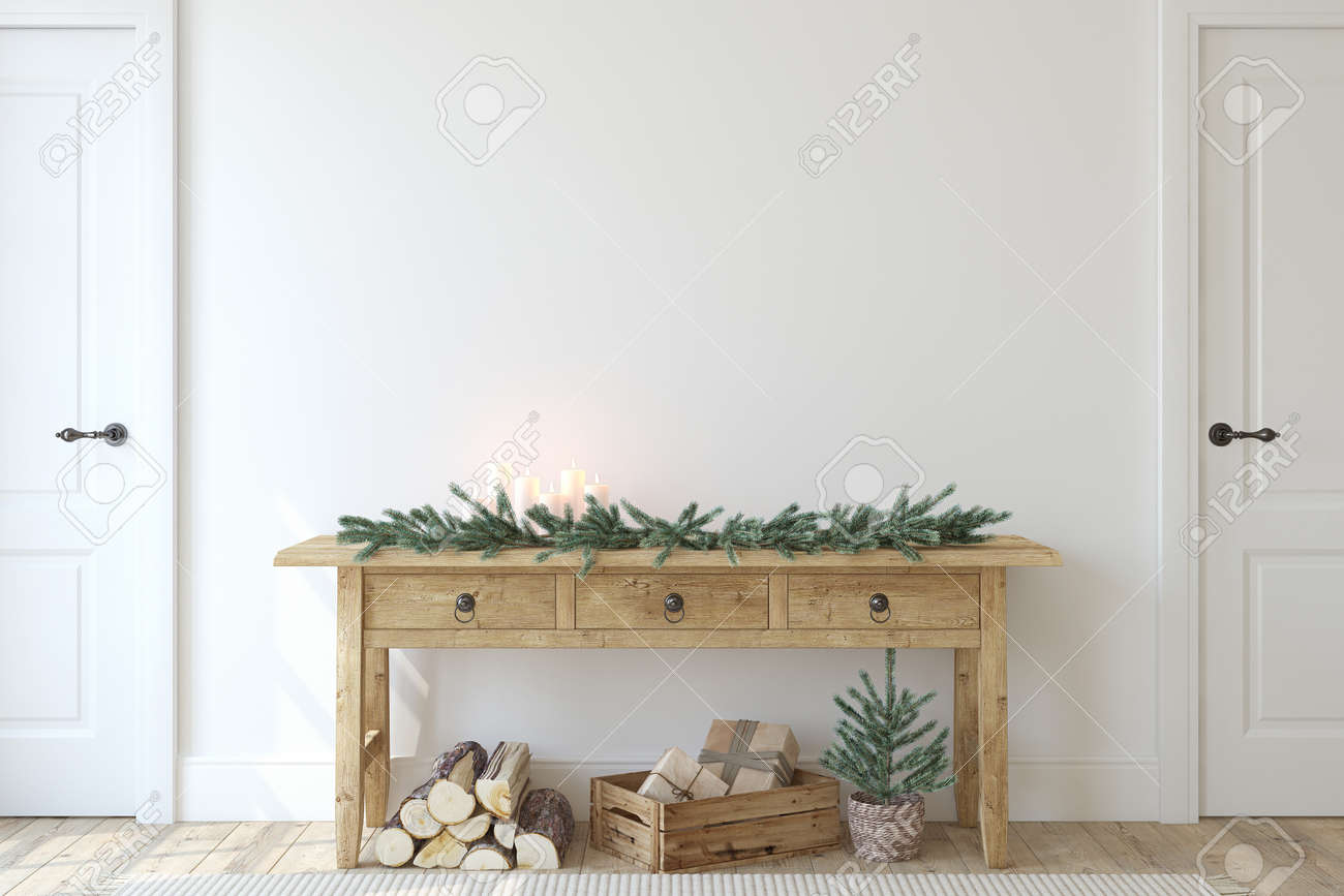 Christmas farmhouse entryway. Wooden console table near white wall. Interior mockup. 3d render. - 158569609