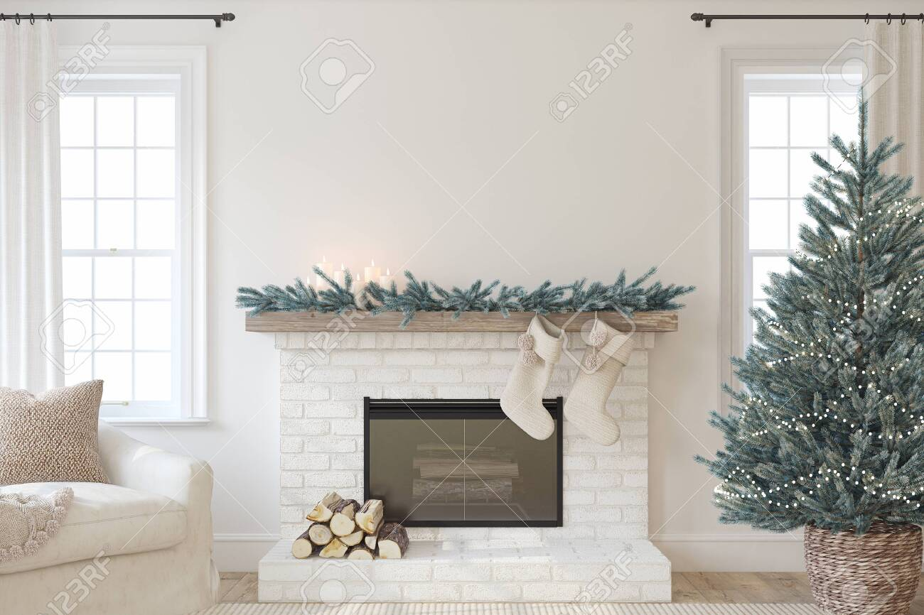 Christmas Interior with fireplace. Farmhouse style. Interior mockup. 3d render. - 158569487