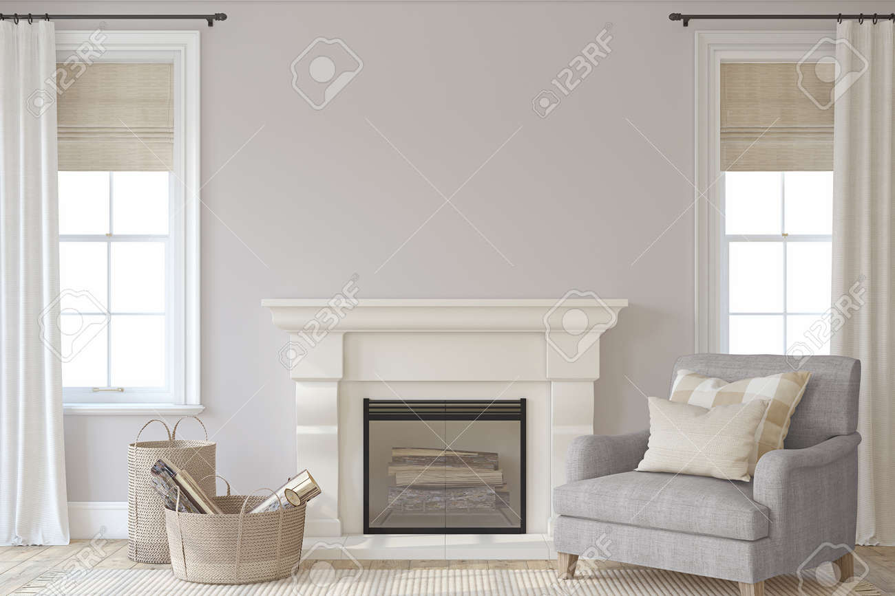 Interior with fireplace. Farmhouse style. Interior mockup. 3d render. - 158754623
