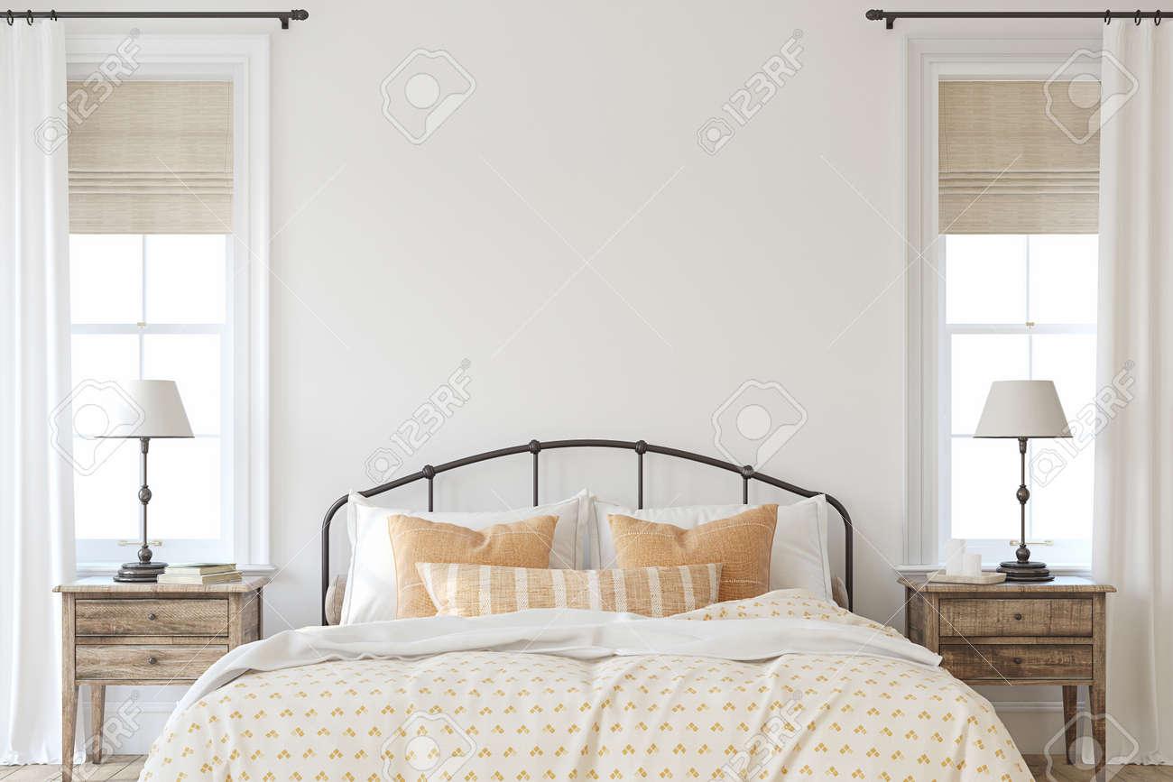 Farmhouse bedroom. Interior mockup. 3d render. - 158629942