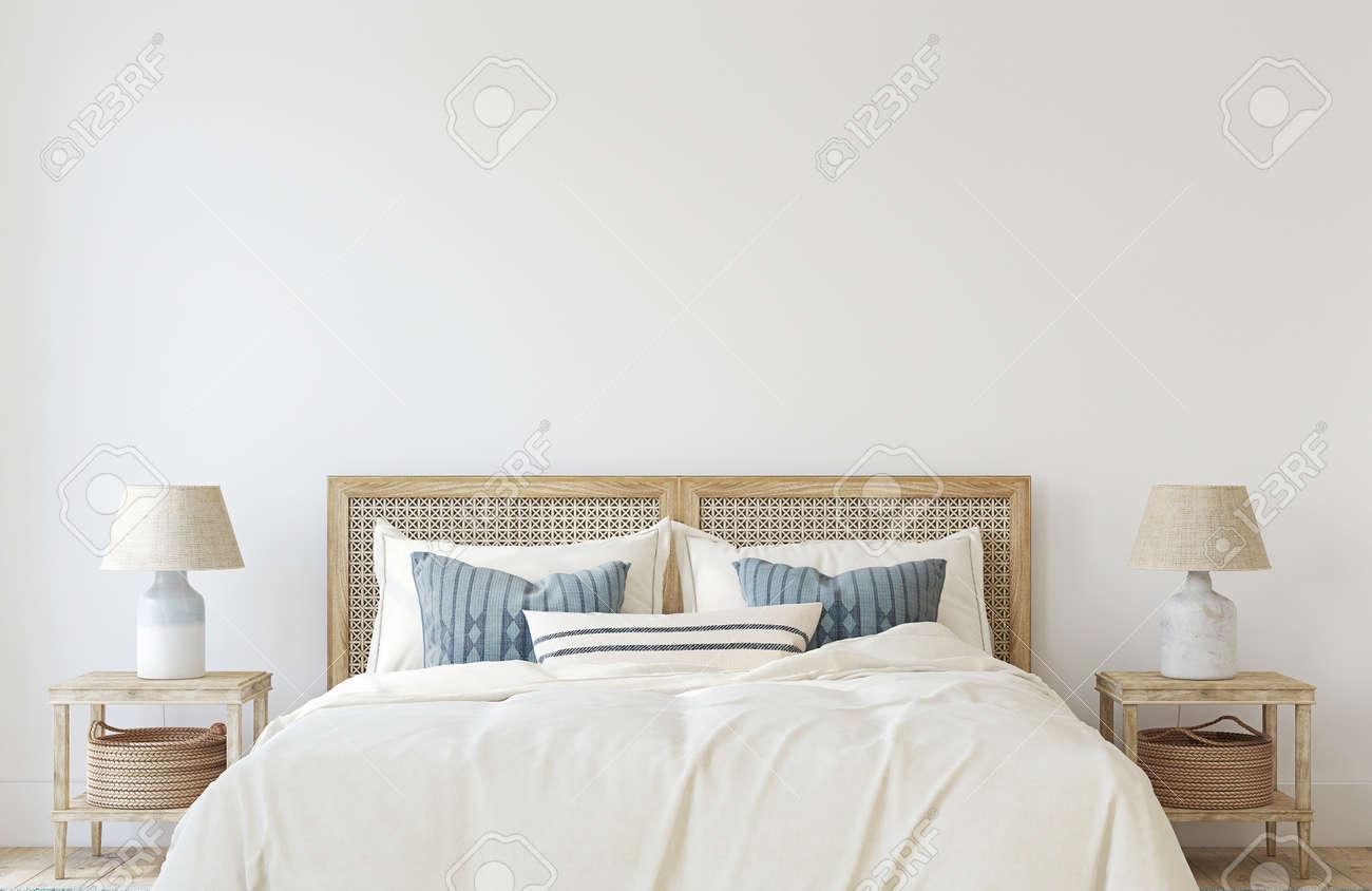 Coastal bedroom. Interior mockup. 3d render. - 158629781