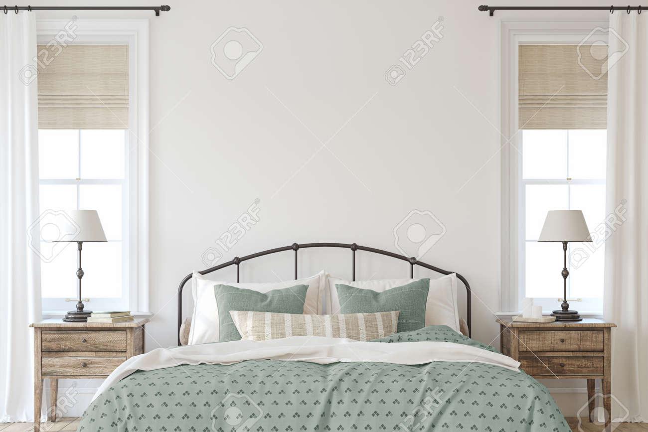 Farmhouse bedroom. Interior mockup. 3d render. - 158629678