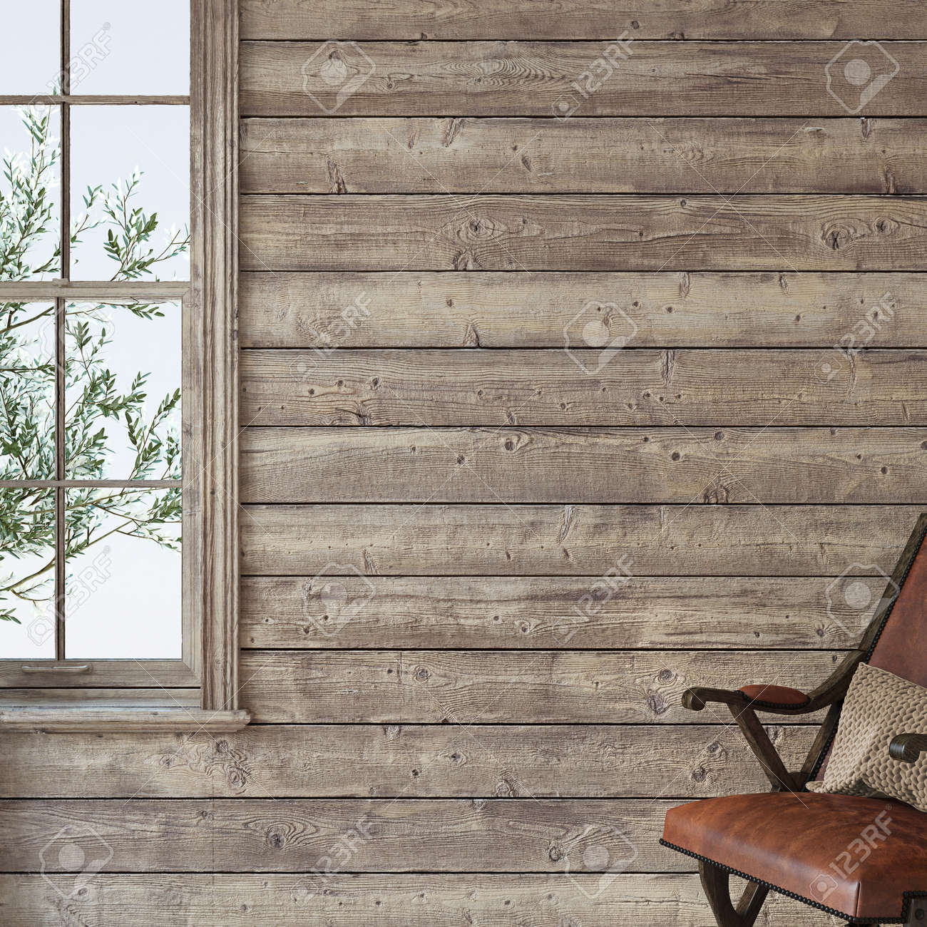 Ranch house. Interior mockup. 3d render. - 163278989