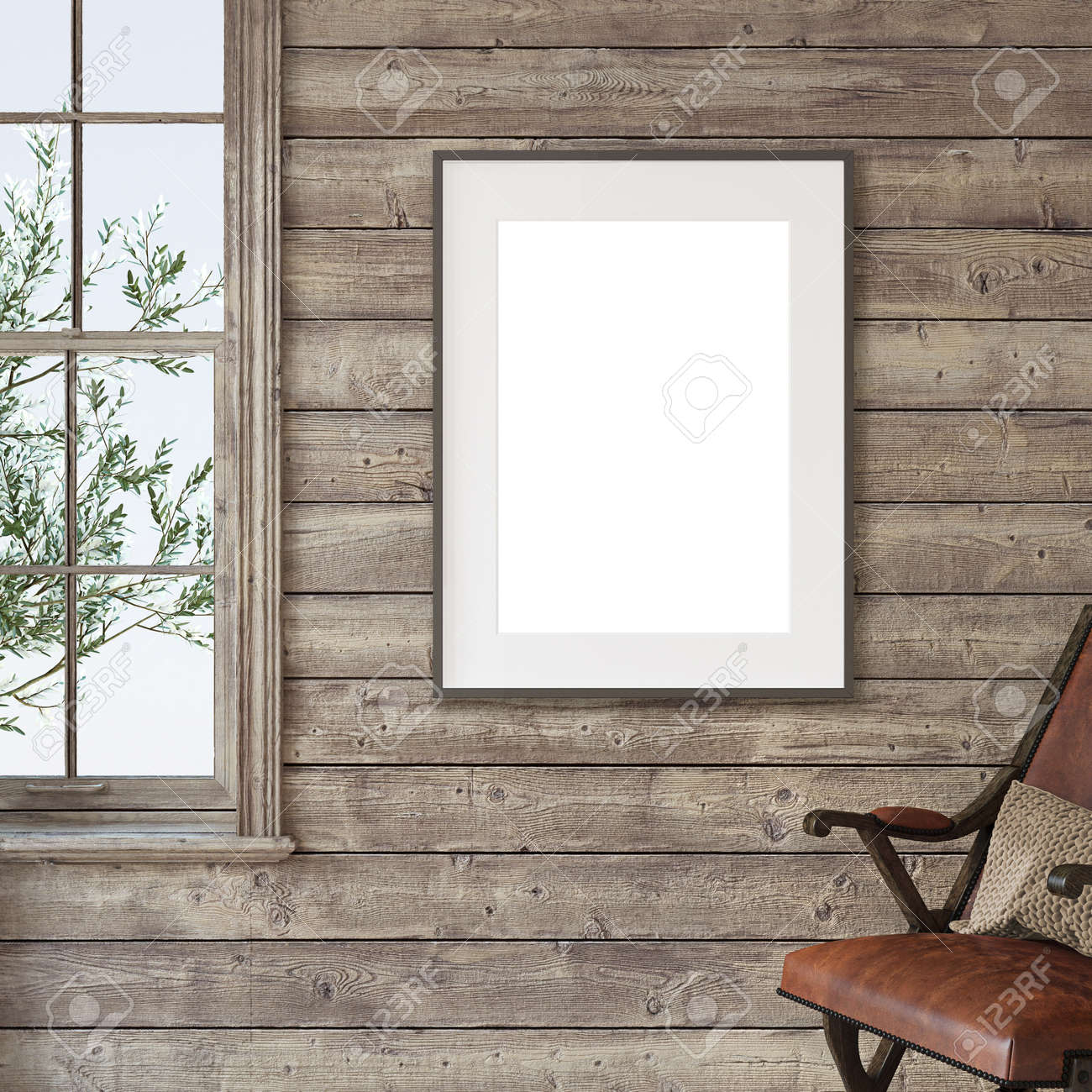 Ranch house. Interior and frame mockup. 3d render. - 163278992