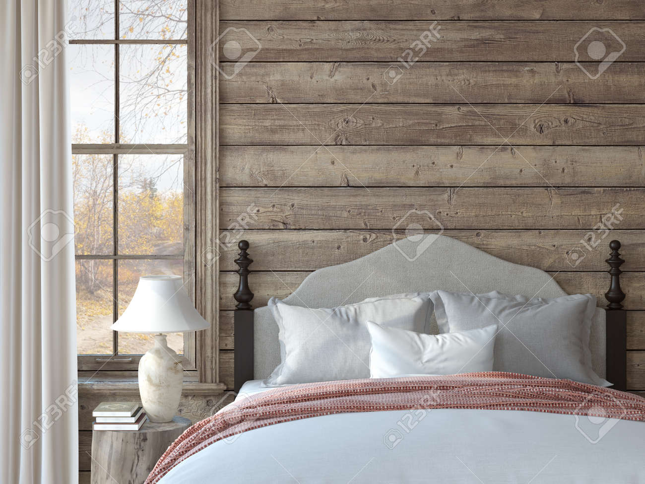 Bedroom in ranch house. Interior mockup. 3d render. - 163279004