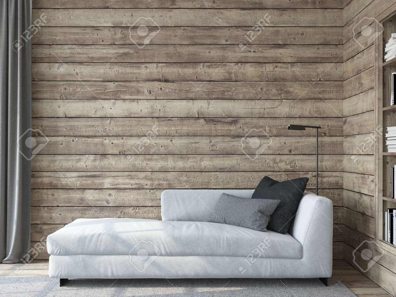Modern living room interior. Interior mockup. The white couch near empty wooden wall. 3d render. - 163984223