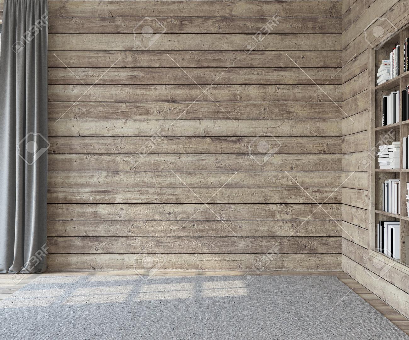 Interior. Empty room with wooden walls. 3d render. - 163984635