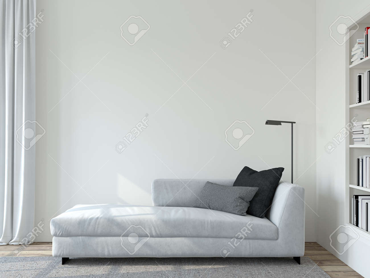 Modern living room interior. Interior mockup. The white couch near empty white wall. 3d render. - 163984313