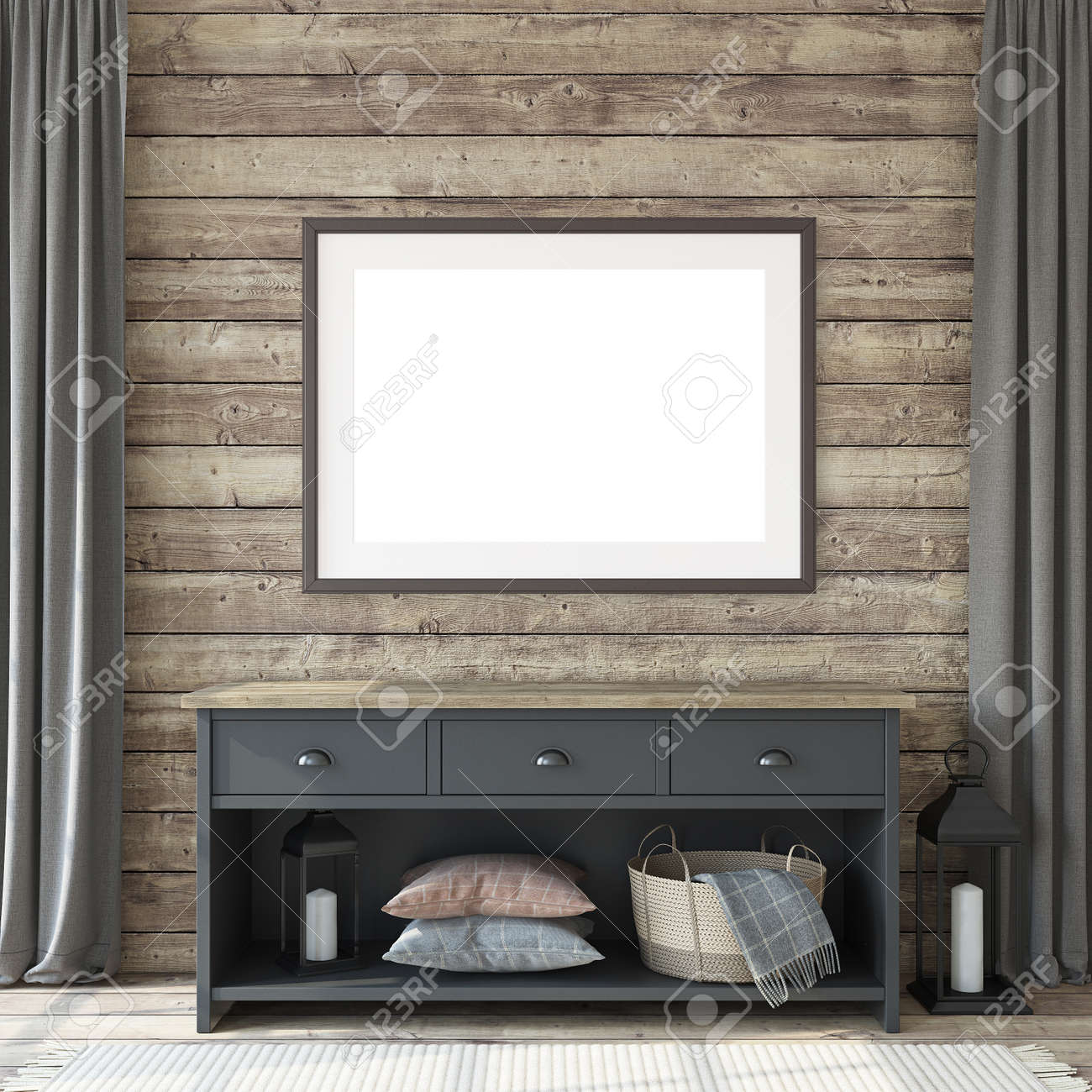 Entryway with the commode. Frame mockup. 3d render. - 163985517