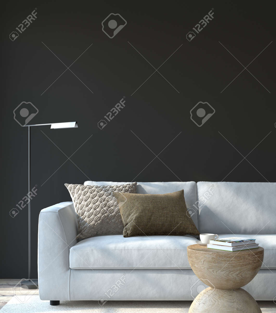 Modern living room interior. Interior mockup. The white couch near empty black wall. 3d render. - 164758486