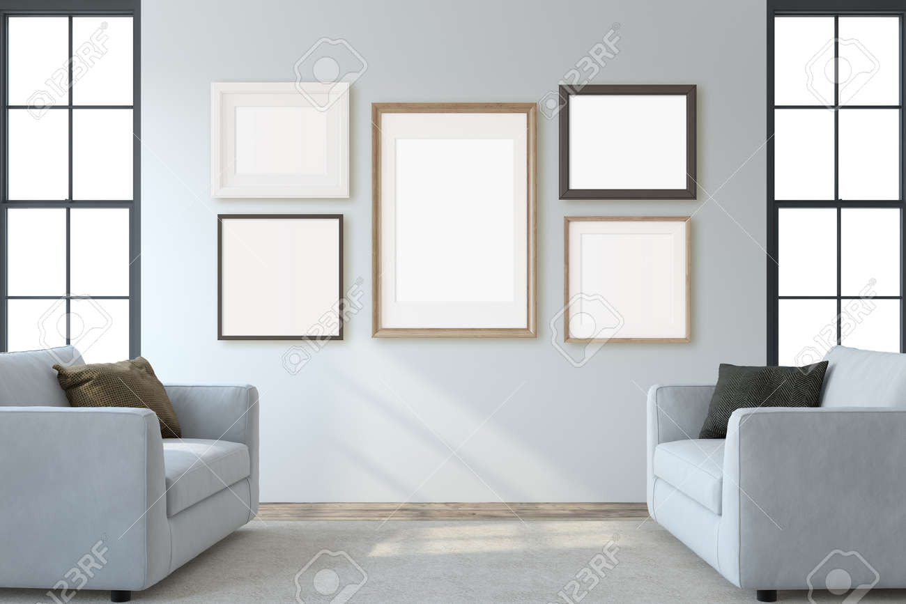 Modern living room interior. Interior and frame mockup. Two white armchaira near white wall. 3d render. - 164758573