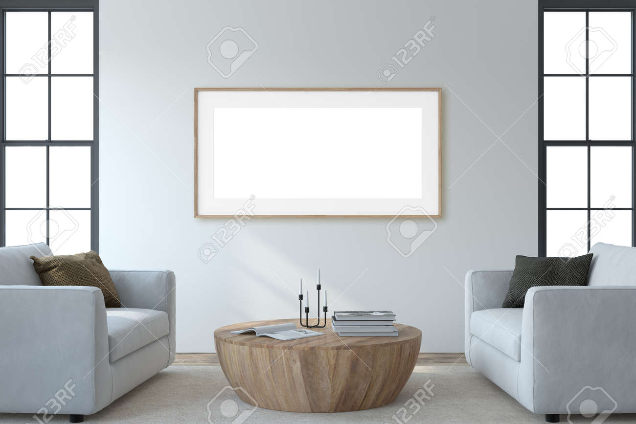 Modern living room interior. Interior and frame mockup. Two white armchaira near white wall. 3d render. - 164758737
