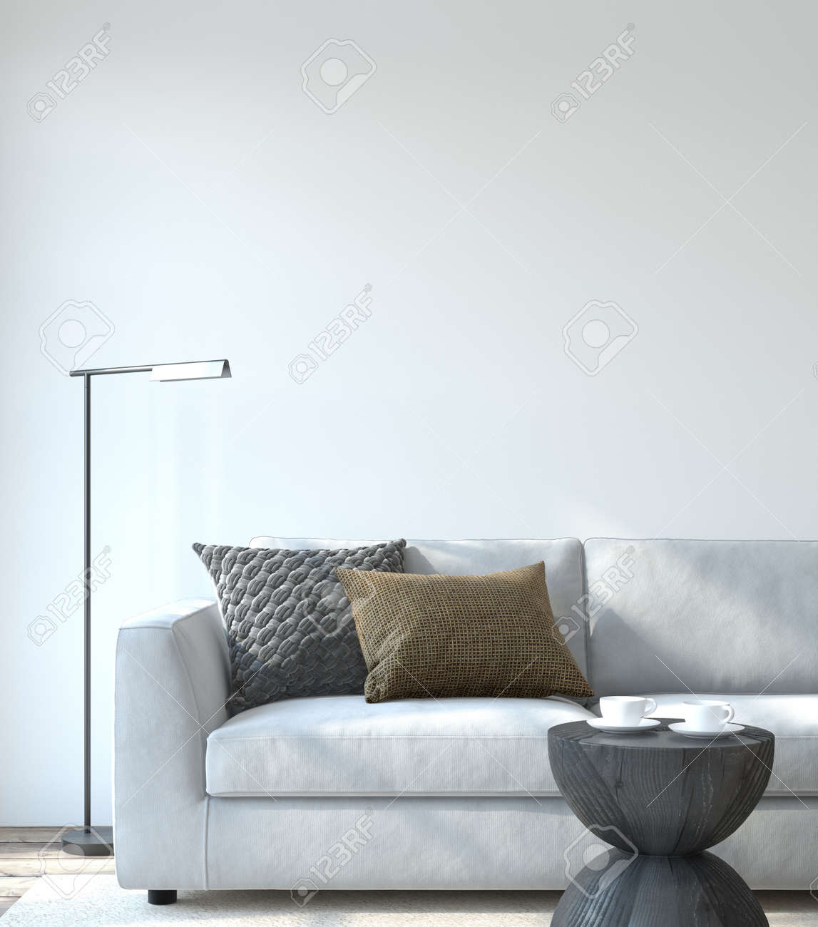 Modern living room interior. Interior mockup. The white couch near empty white wall. 3d render. - 164758635