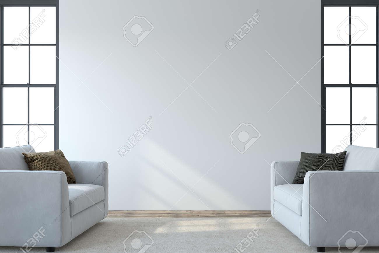 Modern living room interior. Interior mockup. Two white armchaira near empty white wall. 3d render. - 164758472