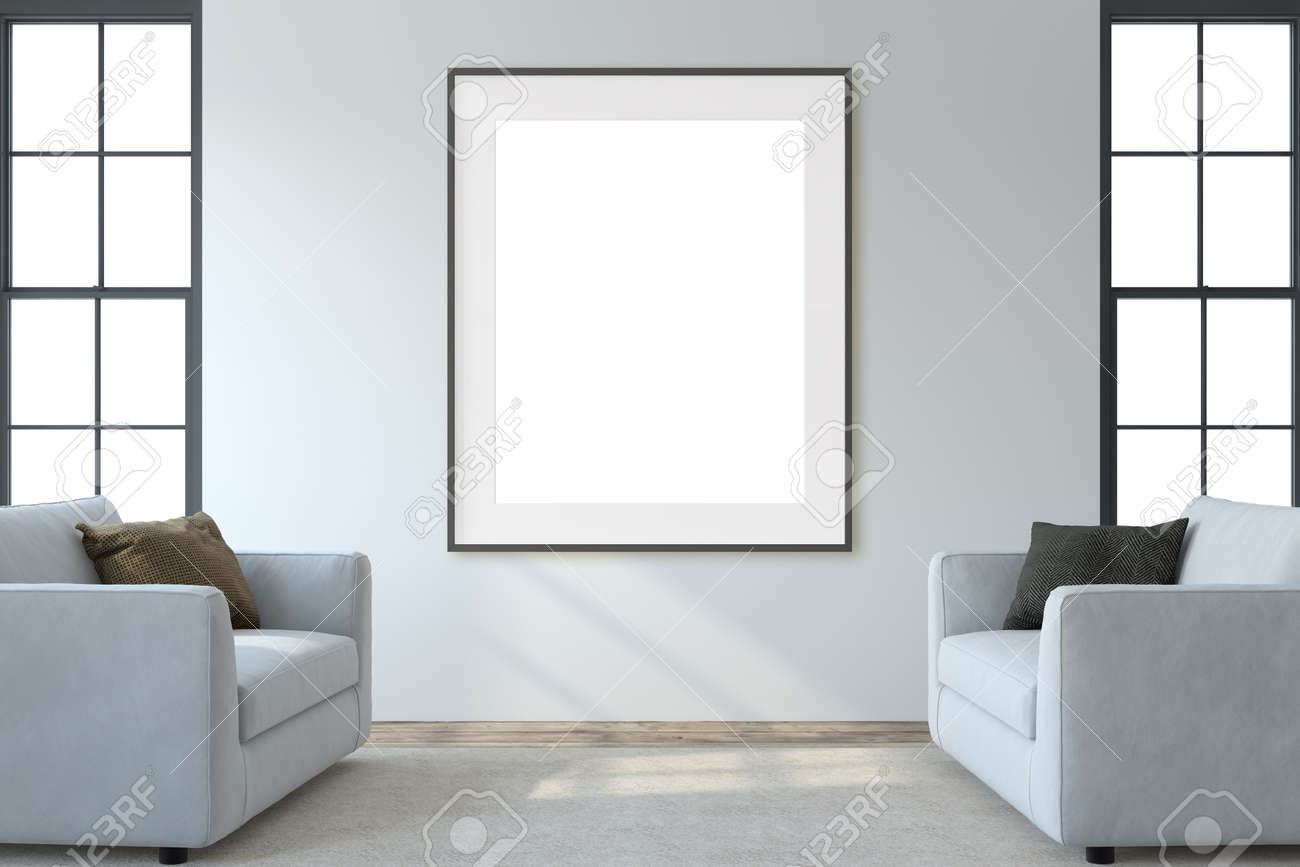 Modern living room interior. Interior and frame mockup. Two white armchaira near white wall. 3d render. - 164758521