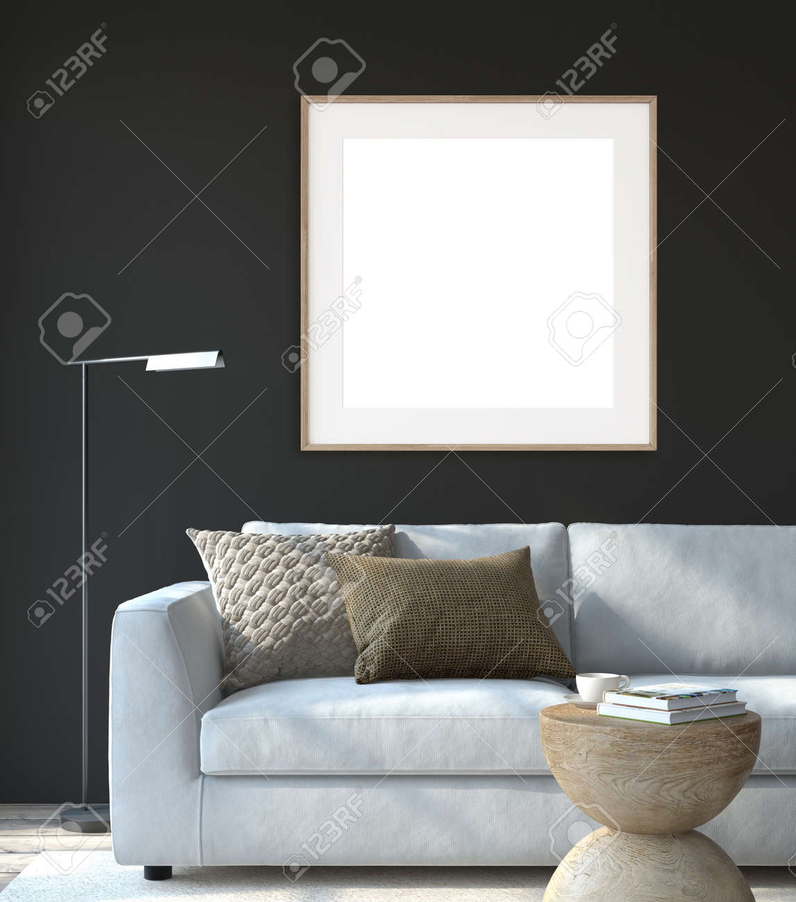 Modern living room interior. Interior and frame mockup. The white couch near black wall. 3d render. - 164758588