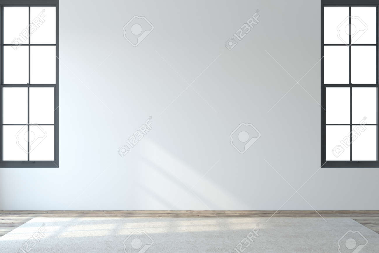 Interior. Empty modern room with white wall and two windows. 3d render. - 164982042