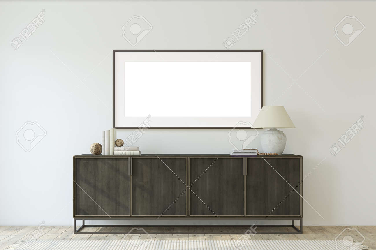 Modern entryway. Chest of drawers near white wall. Interior and frame mockup. 3d render. - 166273586