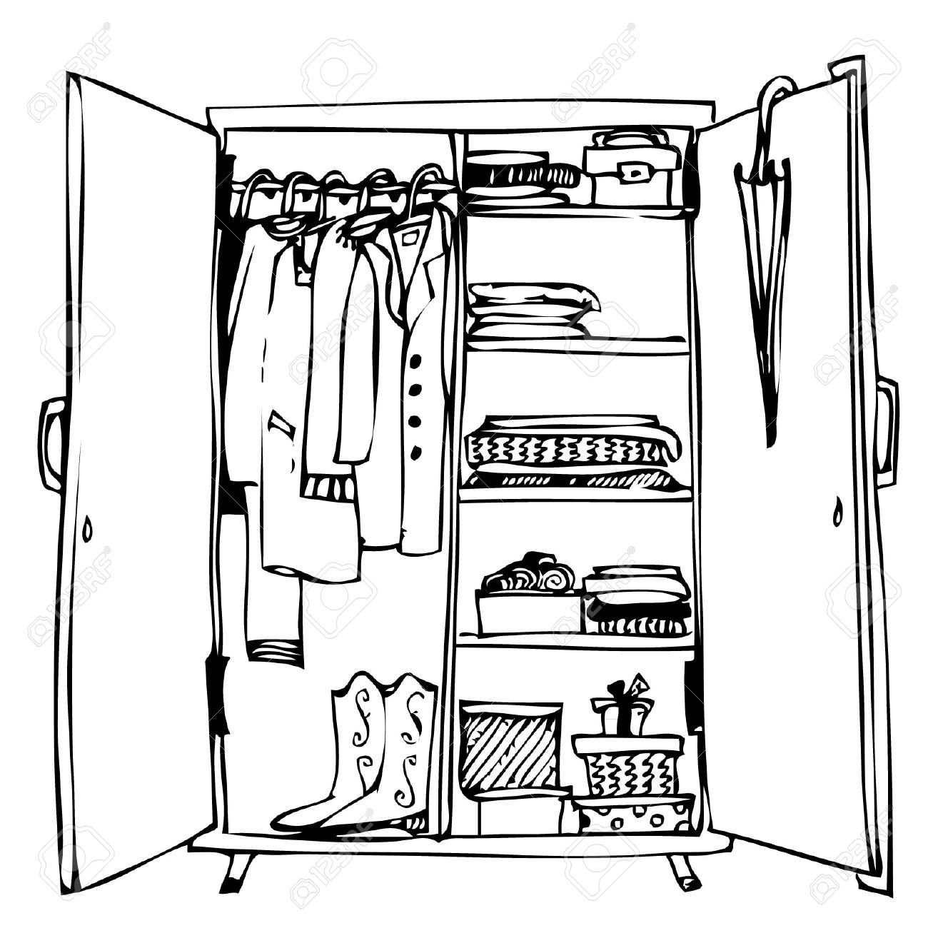 Wardrobe With Clothes Stock Vector