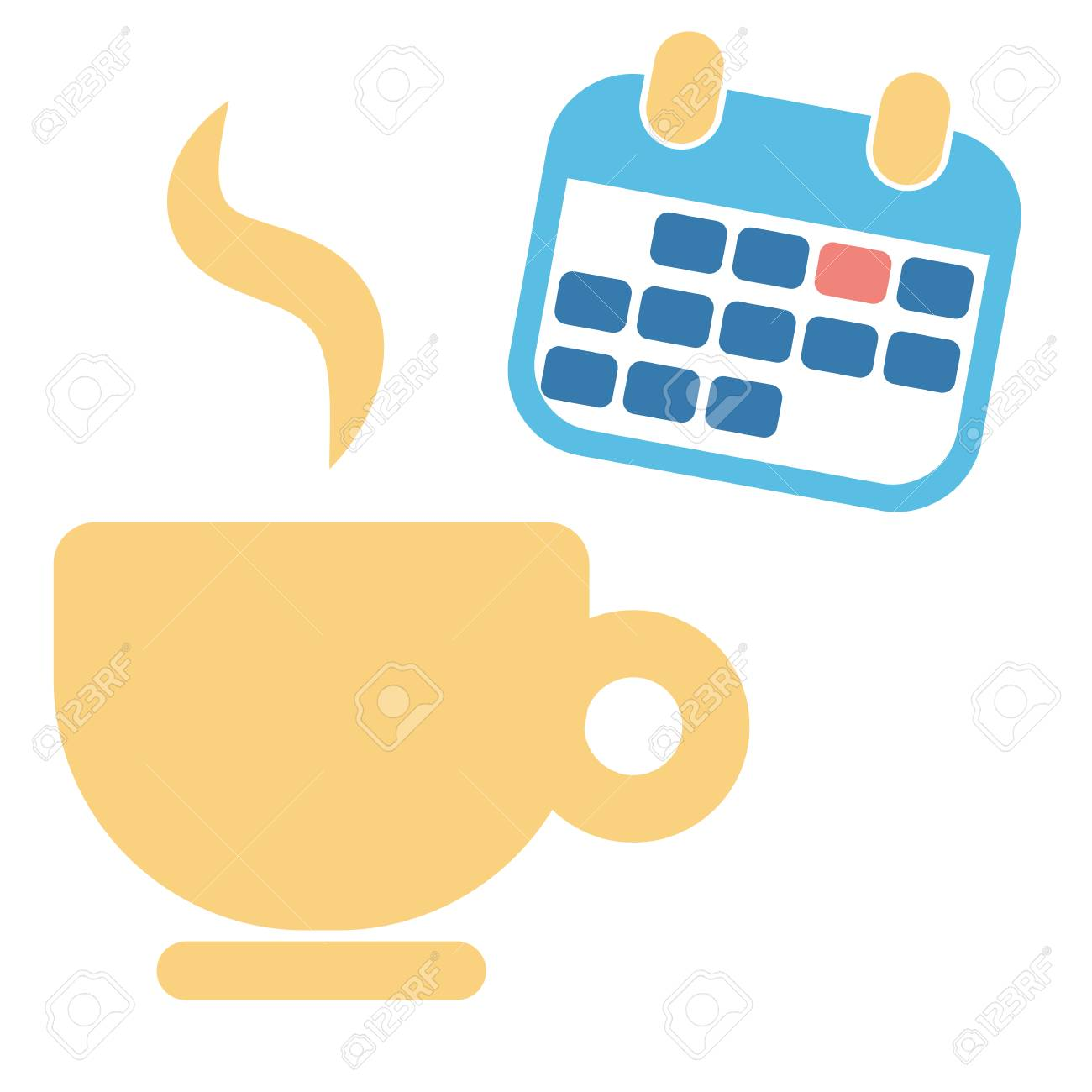 cup of coffee and month blue calendar for business week schedule