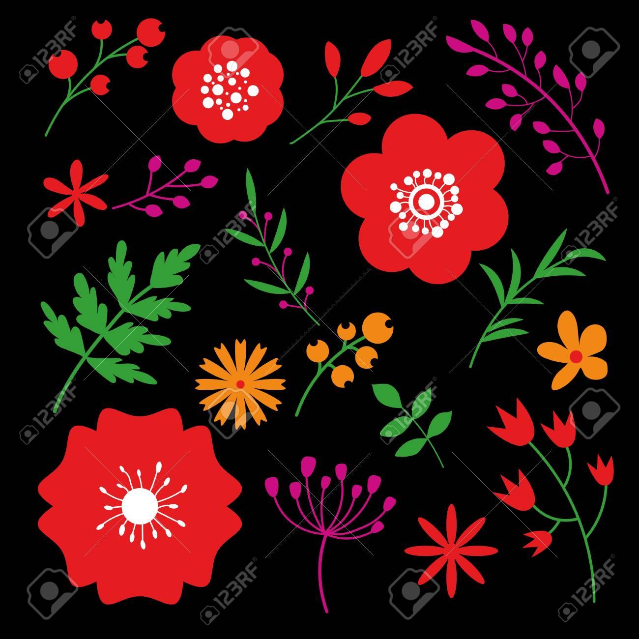 Floral Art Design On Black Background Beautiful Flowers Decorative