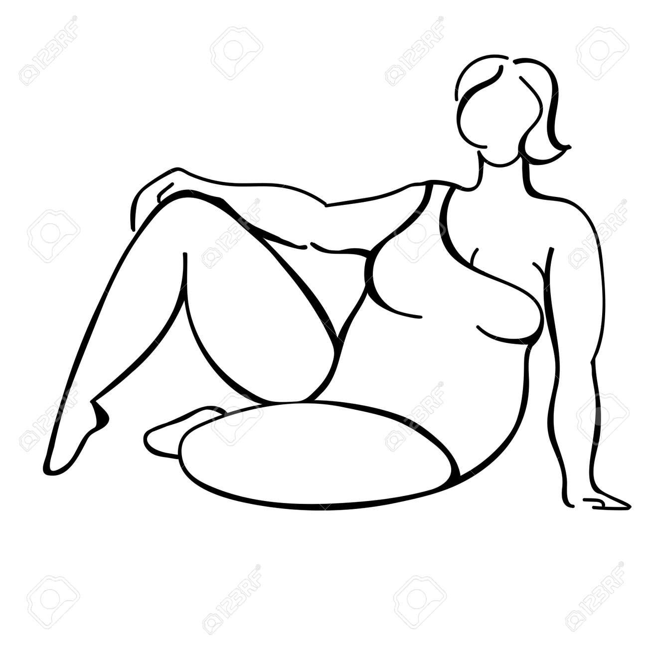 Black line woman sketch on white background. Body positive illustration. Plus size fachion model. - 158359162