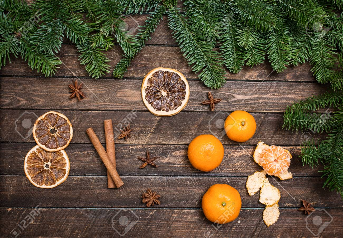 Christmas Decor With Tangerines Dried Orange Slices Anise Stock