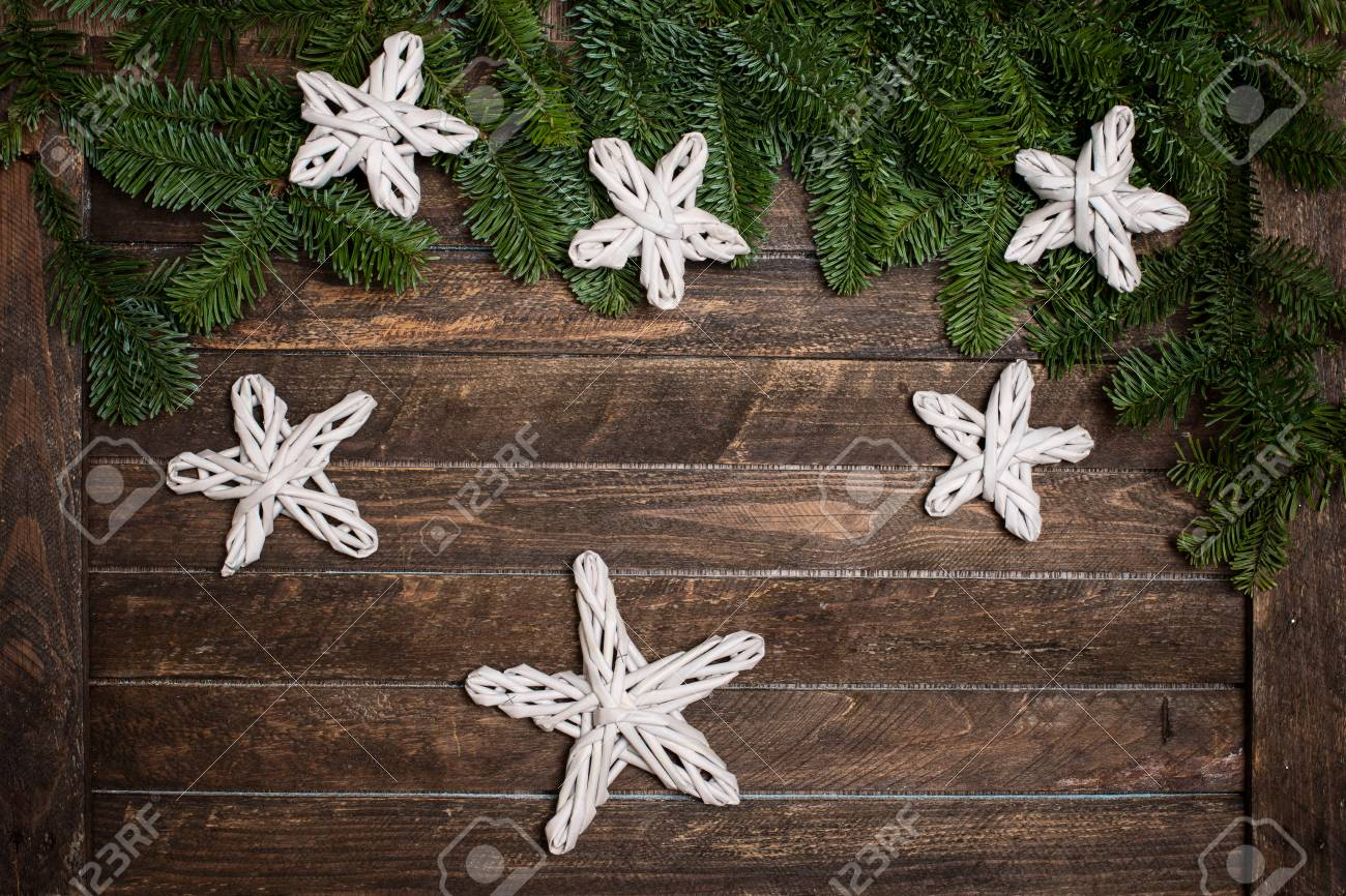 Fir Branch With Christmas Decorations Handmade Paper Stars On