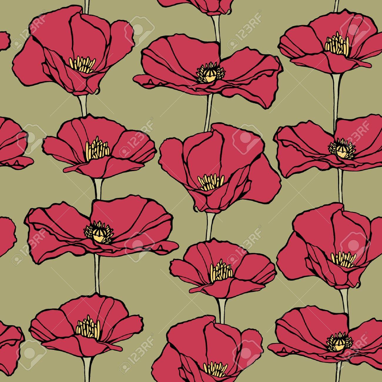 Elegance seamless pattern with poppy flowers vector floral elegance seamless pattern with poppy flowers vector floral illustration in vintage style stock vector mightylinksfo