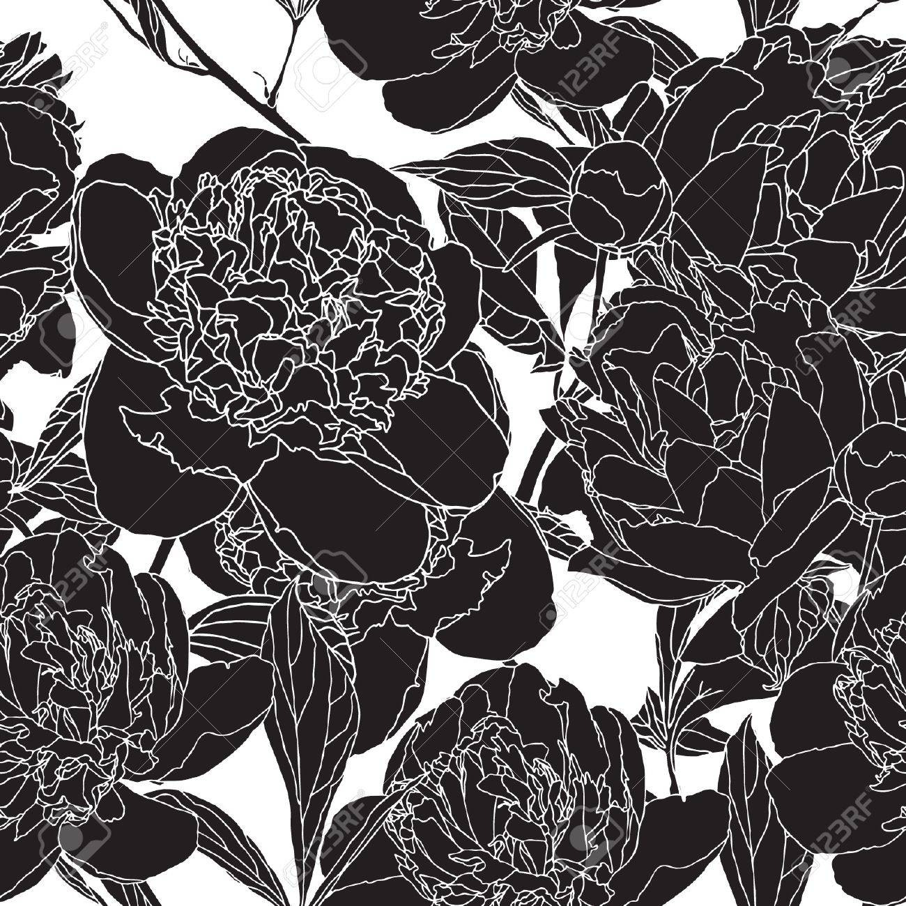 Elegance Seamless pattern with flowers peonies, vector floral illustration in vintage style Stock Vector - 14177125