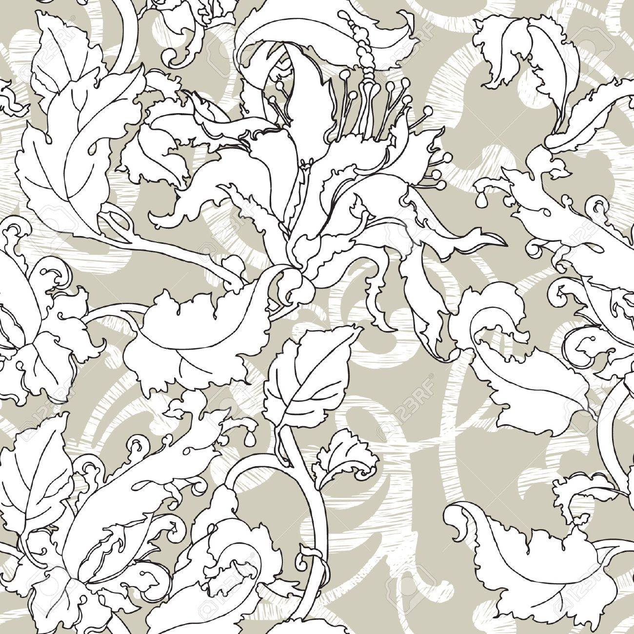 Elegance Seamless pattern with flowers, vector floral illustration in vintage style Stock Vector - 19397621