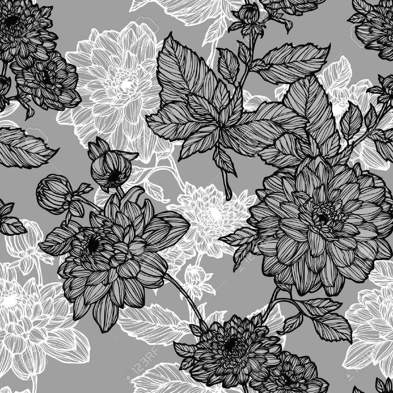 Elegance Seamless pattern with flowers, vector floral illustration in vintage style Stock Vector - 24930301
