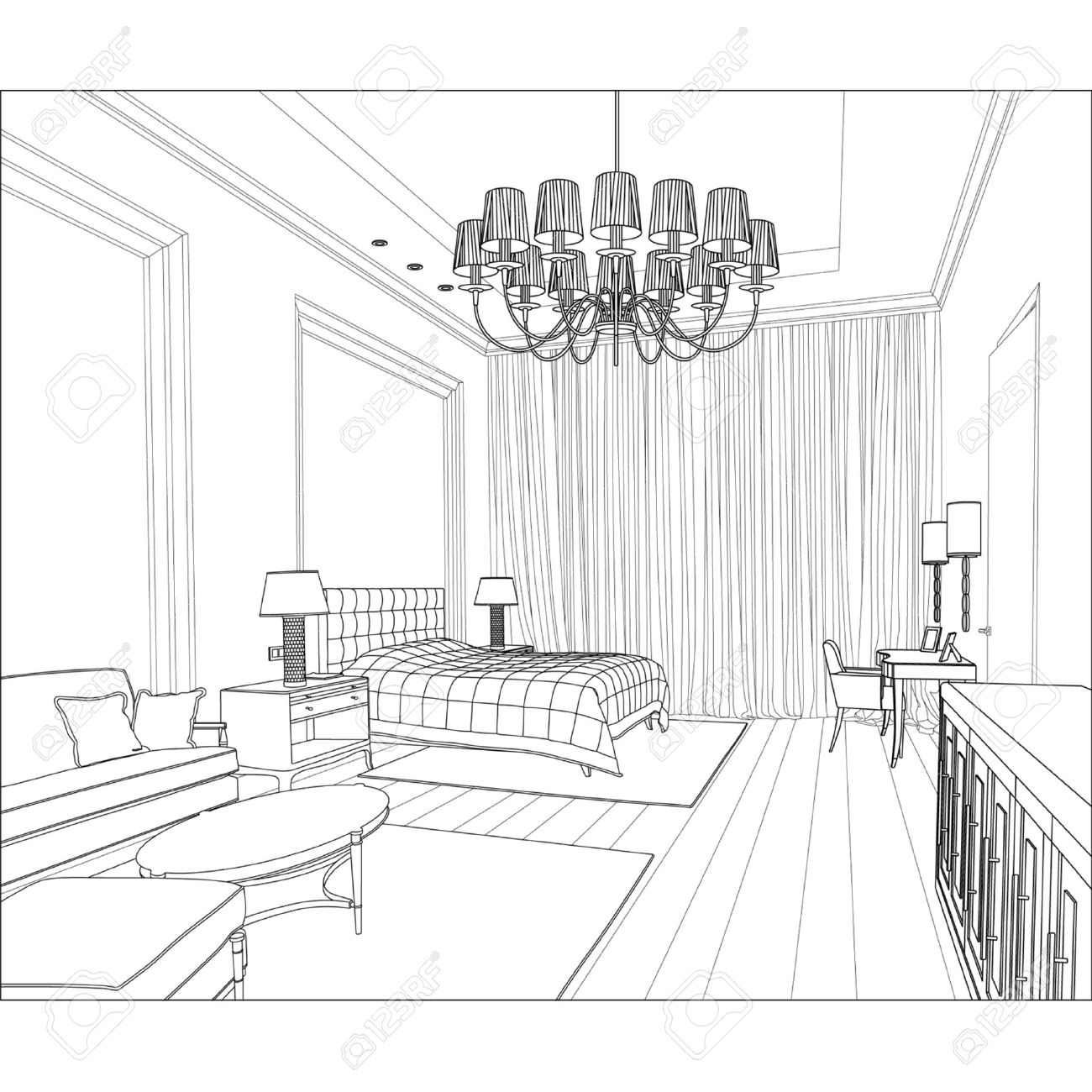 Living room clipart black and white - Living Editable Vector Illustration Of An Outline Sketch Of A Interior 3d Graphical Drawing Interior