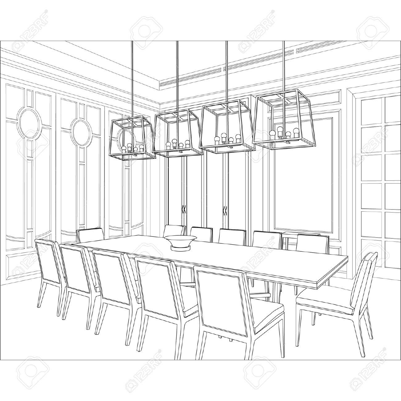 Dining room perspective drawing - Editable Vector Illustration Of An Outline Sketch Of A Interior 3d Graphical Drawing Interior Stock Vector