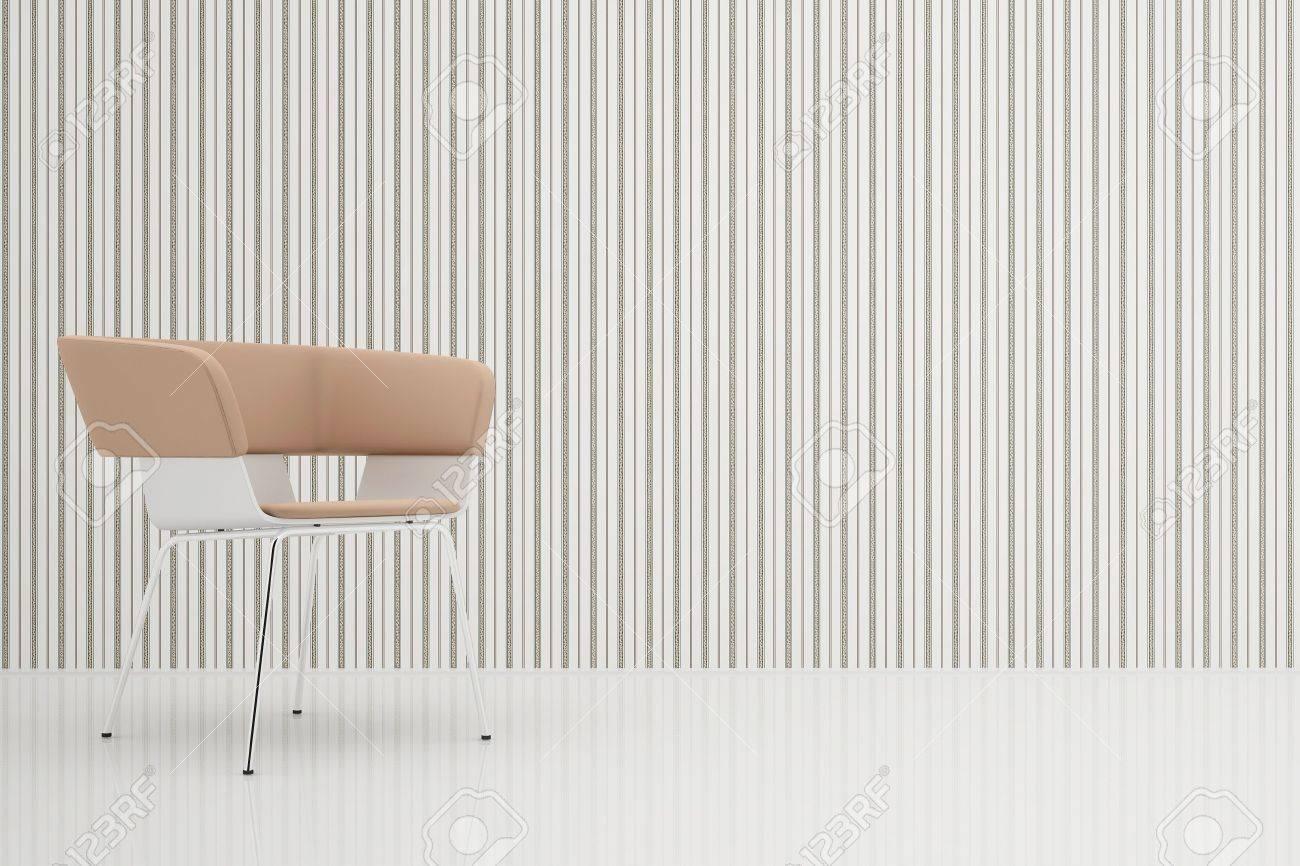 安楽椅子にミラーの床とストライプの壁紙の部屋 の写真素材 画像素材
