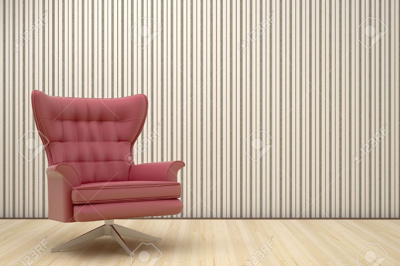 Lovely Red Chair In A Room With Striped Wallpaper Stock Photo   7696826