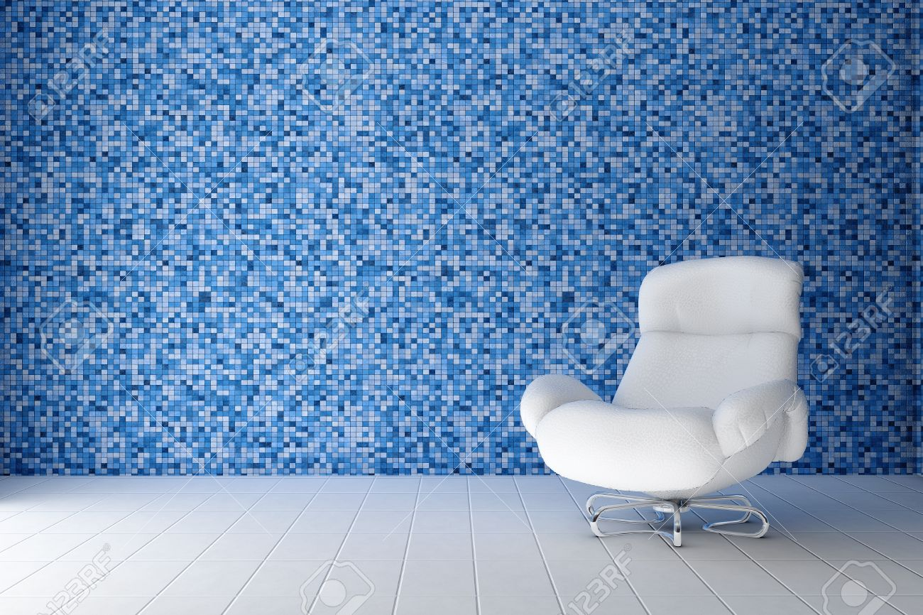 white leather chair in the room where the wall is decorated tile mosaic blue Stock Photo - 8829745
