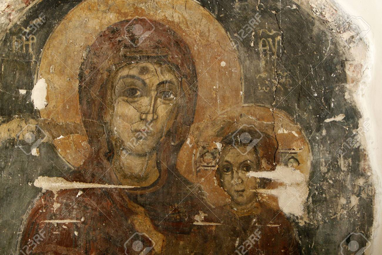 an icon in a wall with madonna and christ Stock Photo - 3095021
