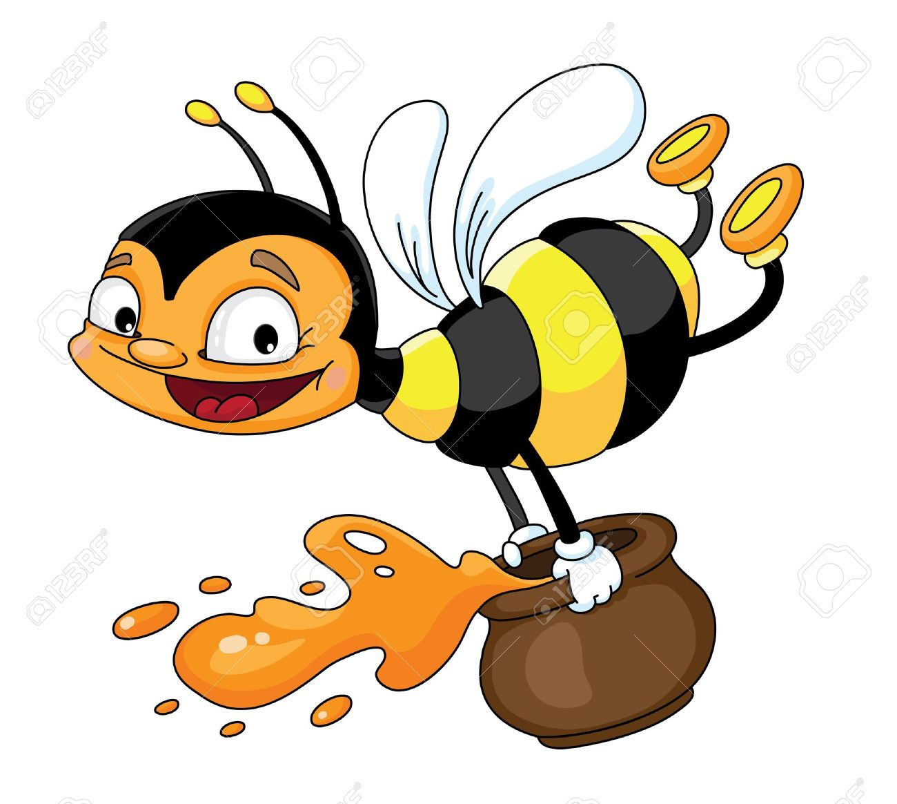 Illustration of a flying bee with honey Stock Vector - 10367965
