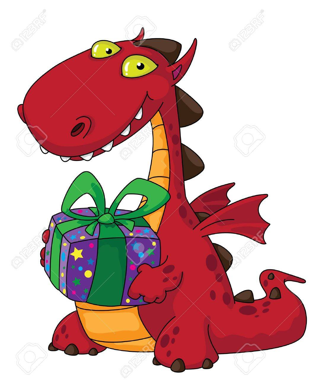 illustration of a dragon and a gift Stock Vector - 10914649