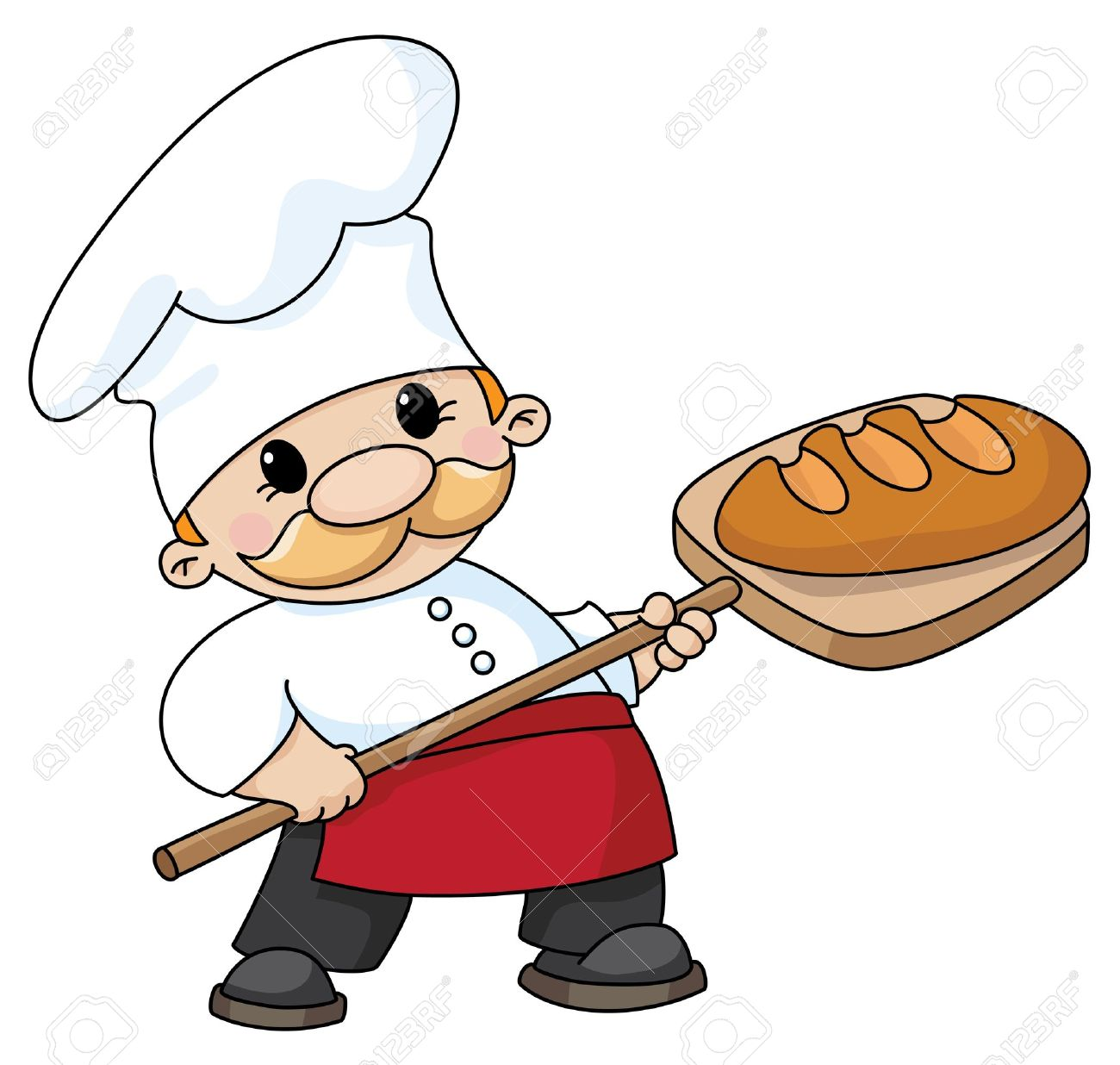 An illustration of a baker with bread - 11514494