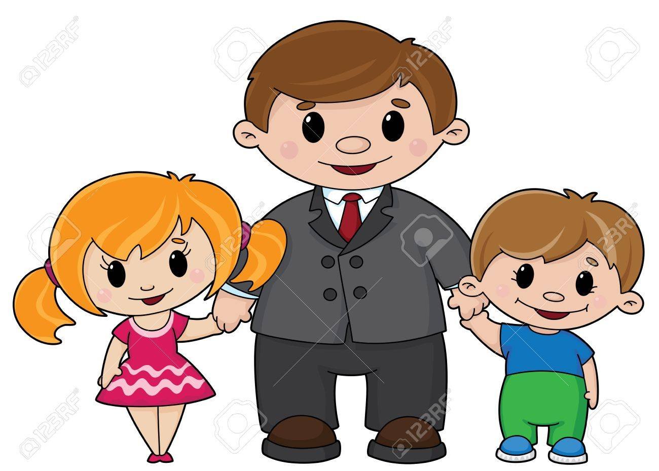 illustration of a father and children Stock Vector - 11514554