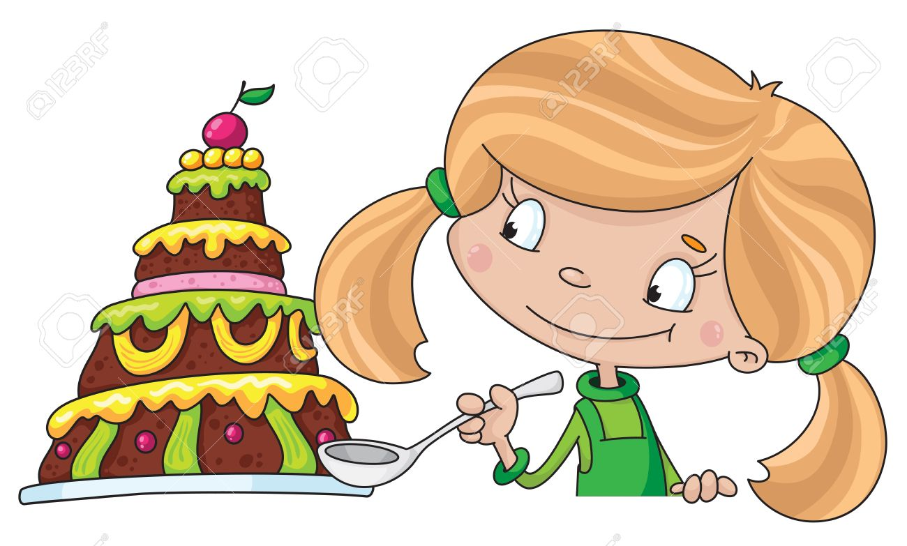 Illustration Of A Girl And Cake Royalty Free Cliparts Vectors