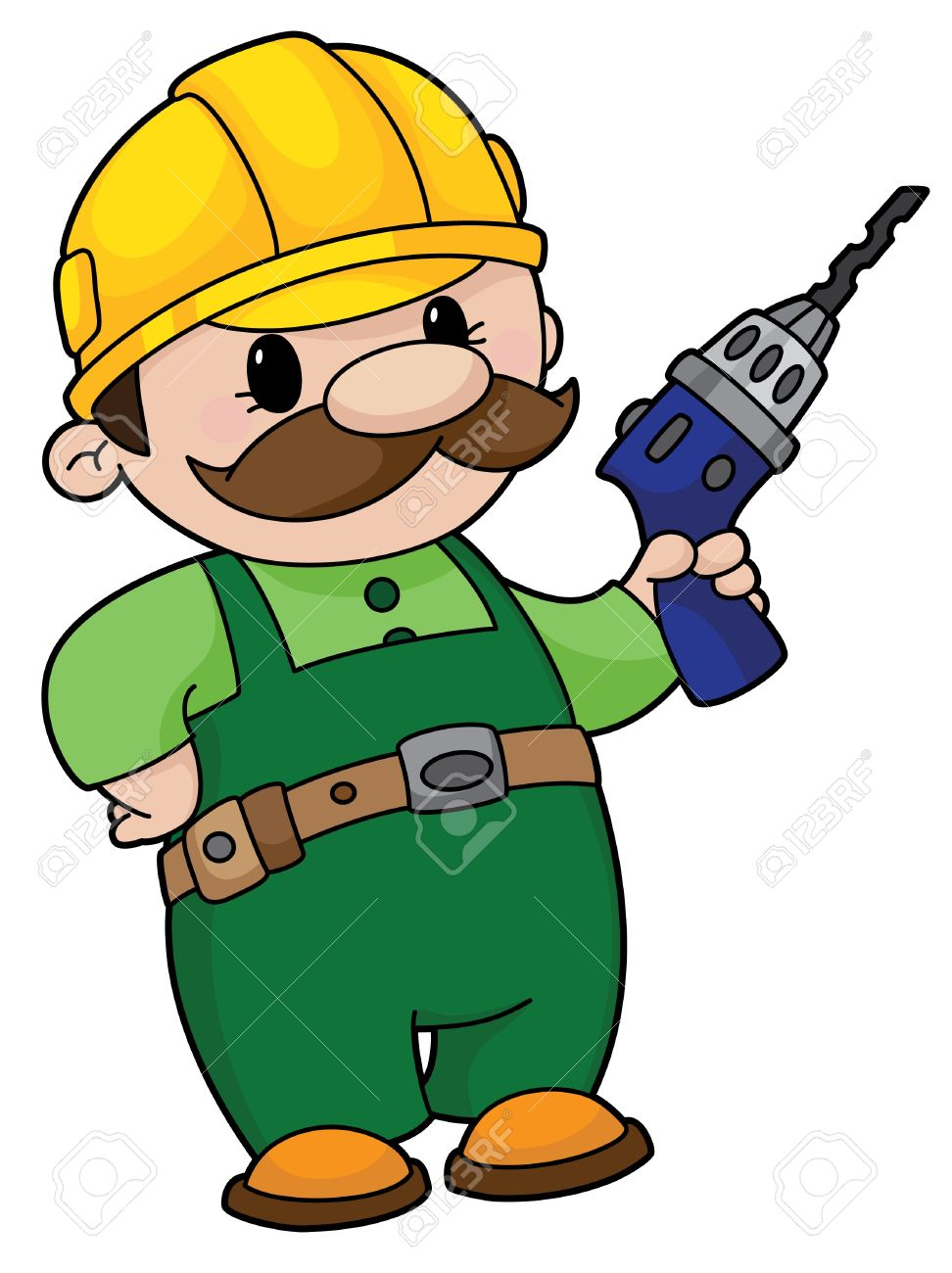 an illustration of a builder a drill royalty cliparts an illustration of a builder a drill stock vector 11592445
