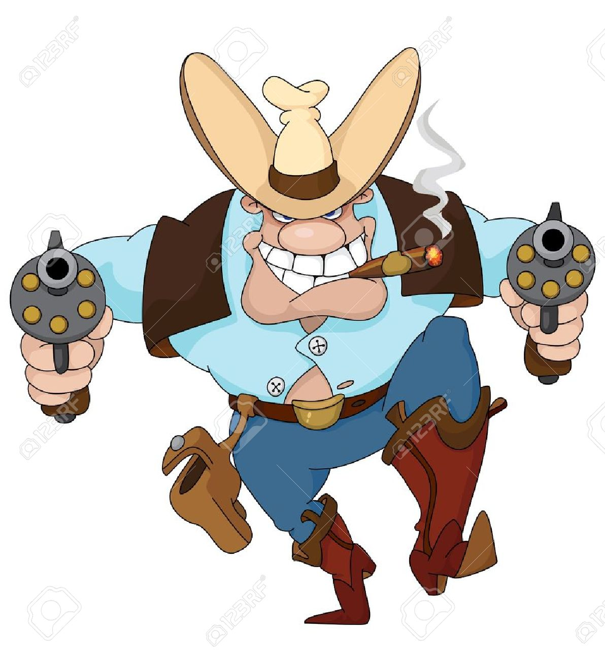 Illustration of a texas cowboy with revolvers Stock Vector - 11592496